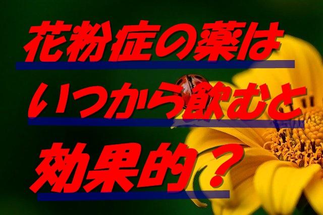 花粉症の薬はいつから飲むと効果的?早く飲むと症状は軽くなる?